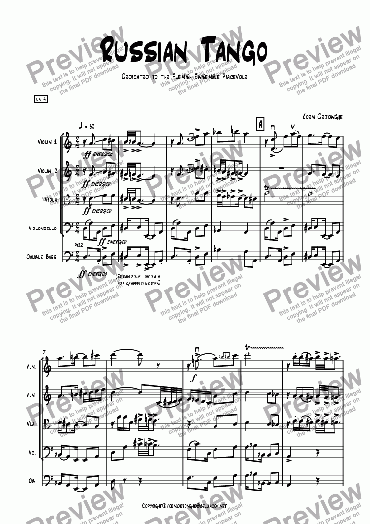 "page one of ""A Russian Tango"" for Stringquartet and Bass"