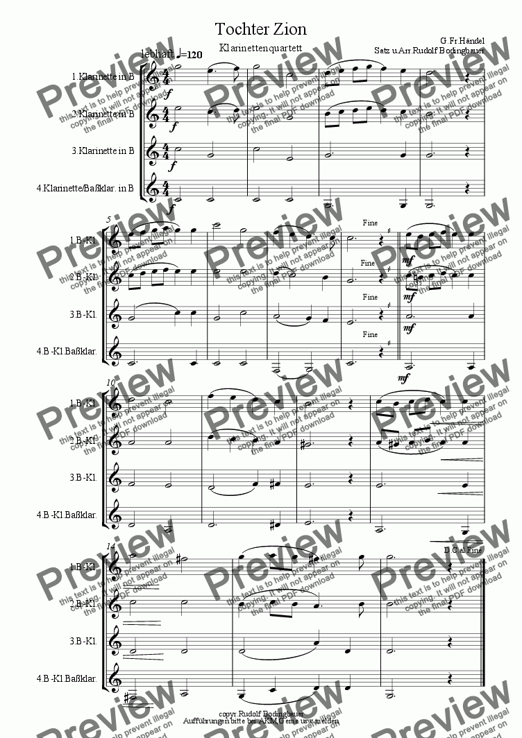 page one of Tochter Zion  Klarinettenquartett