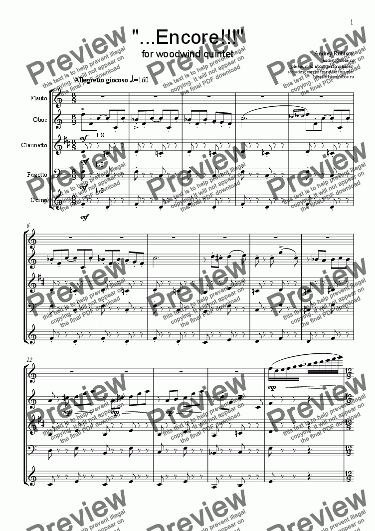 "page one of ""<b>...Encore!!!</b>"" for woodwind quintet"