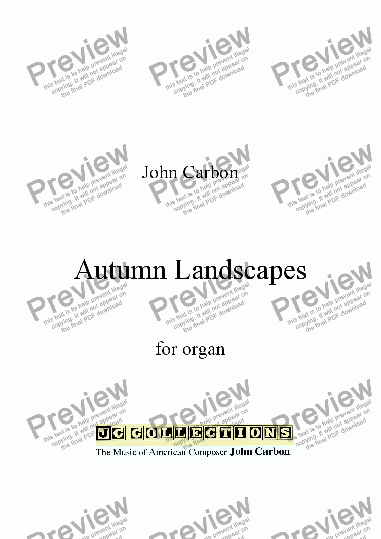page one of Autumn Landscapes for organ