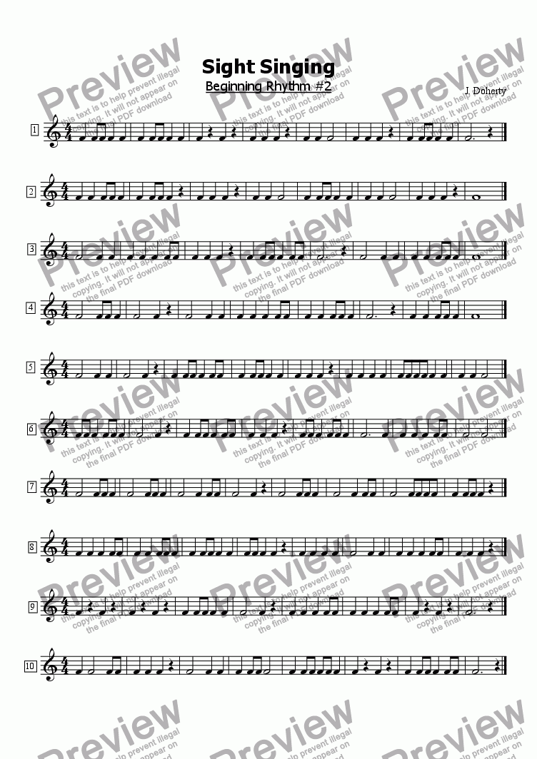 page one of Beginning Sight Singing #2