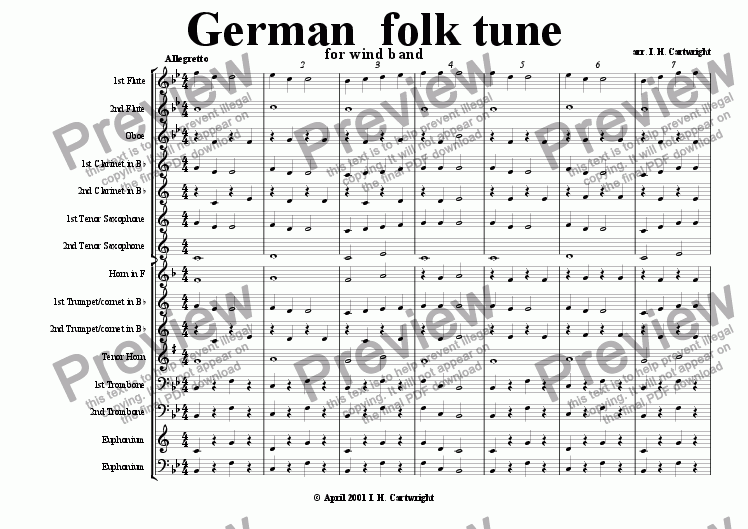 page one of German folk tune for wind band