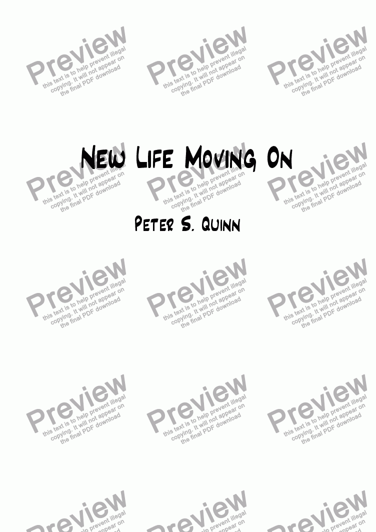 page one of New Life Moving On