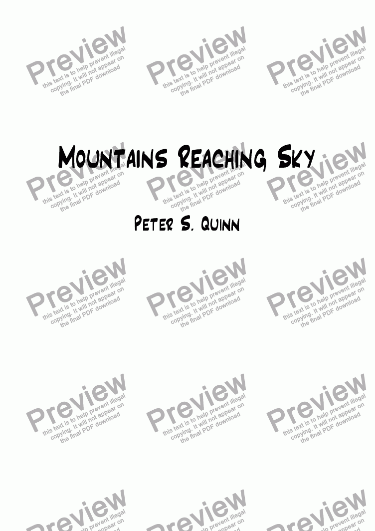 page one of Mountains Reaching Sky