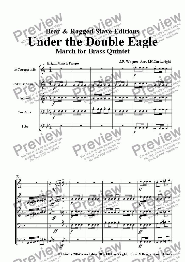 page one of Under the Double Eagle  March for Brass QuintetASALTTEXT