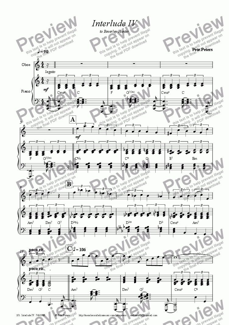 page one of Interlude 4 [Oboe version]