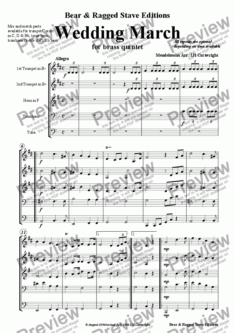 page one of Wedding march for Brass QuintetASALTTEXT