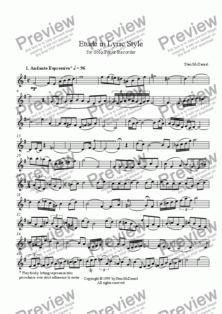 page one of Etude in Lyric Style