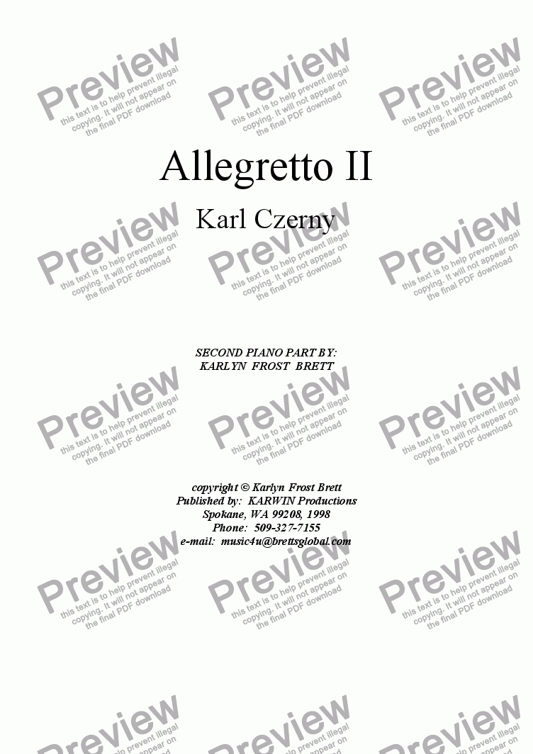 page one of Allegretto II