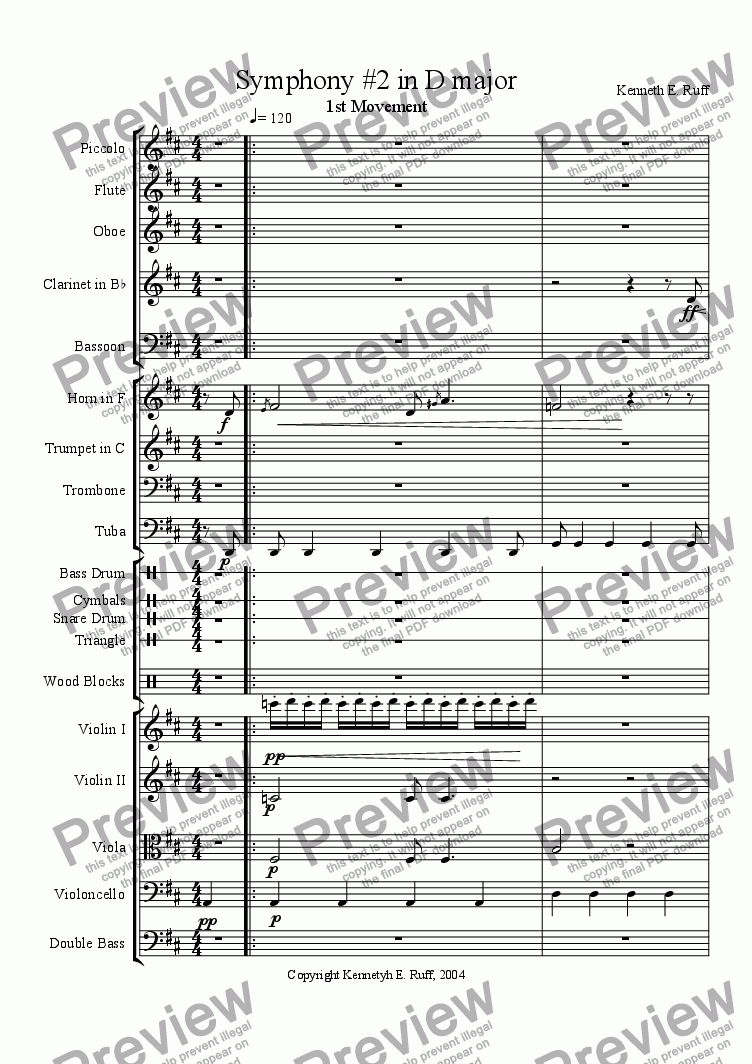 page one of Symphony #2 in D major, 1st Movement