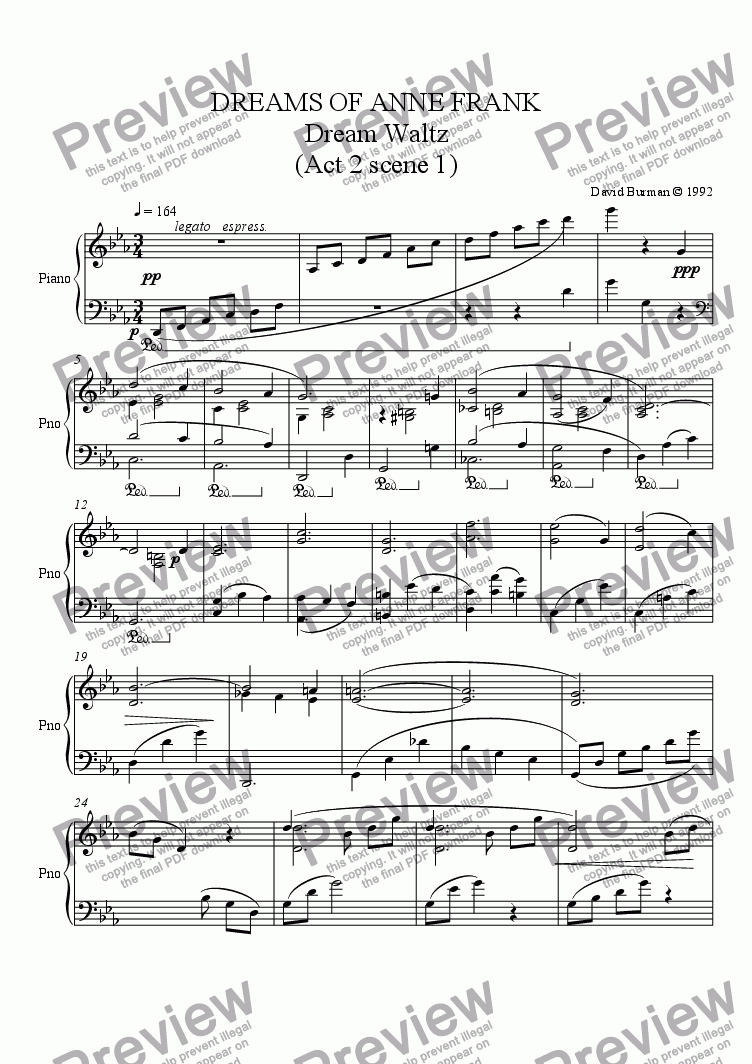 page one of Dream Waltz - overture to Act 2