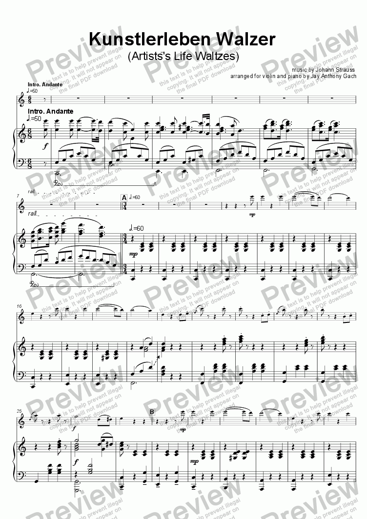 "page one of Waltz, ""Artist's Life"" (violin + piano)"