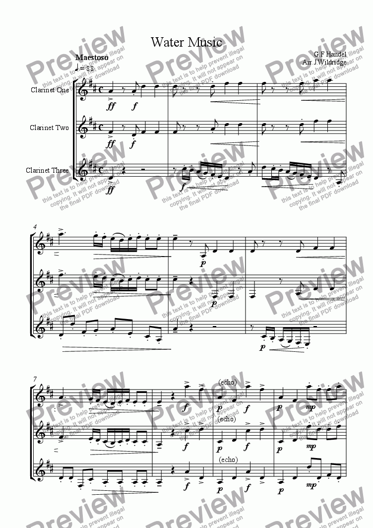 page one of Water Music