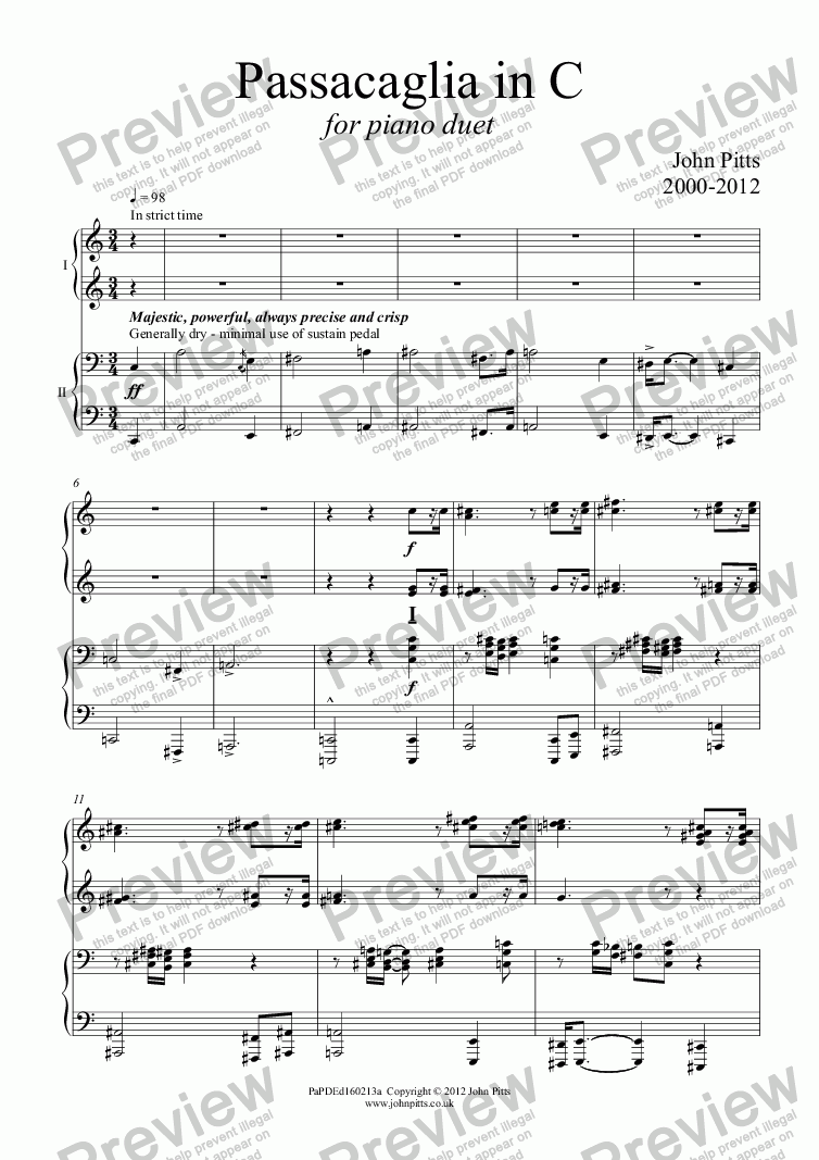 page one of Passacaglia in C (piano duet) [2012]