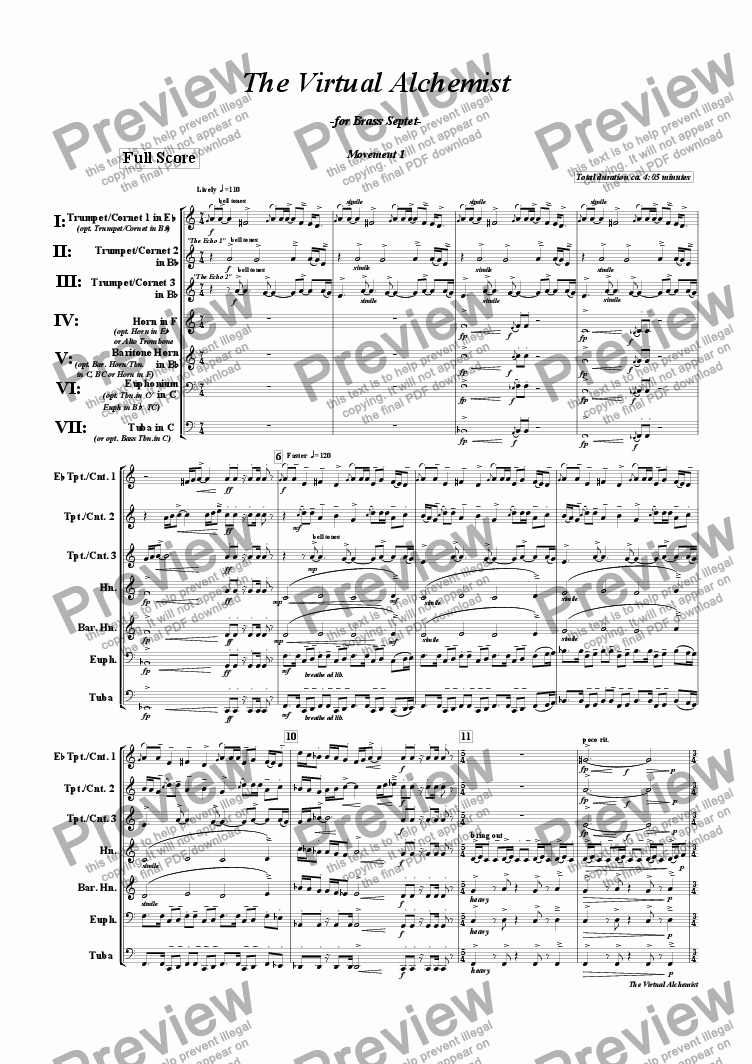 page one of The Virtual Alchemist (brass septet)