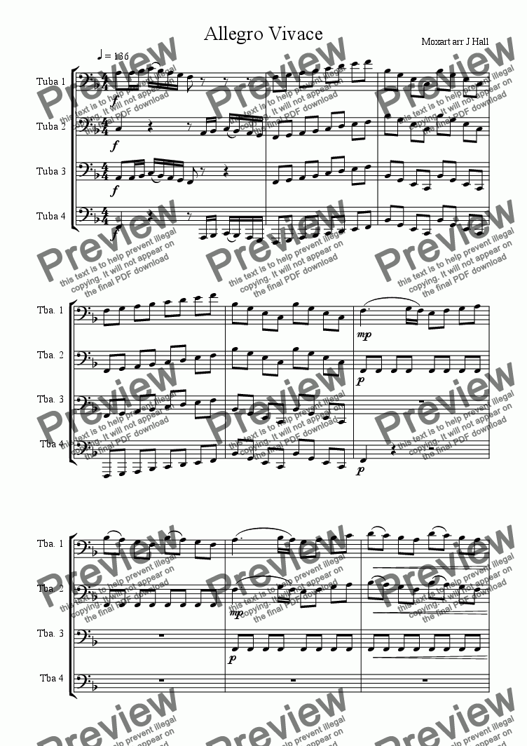 page one of Allegro for Tuba Quartet