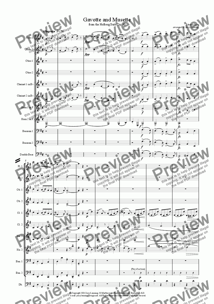 page one of Gavotte and Musette from the Holberg Suite (wind decet)