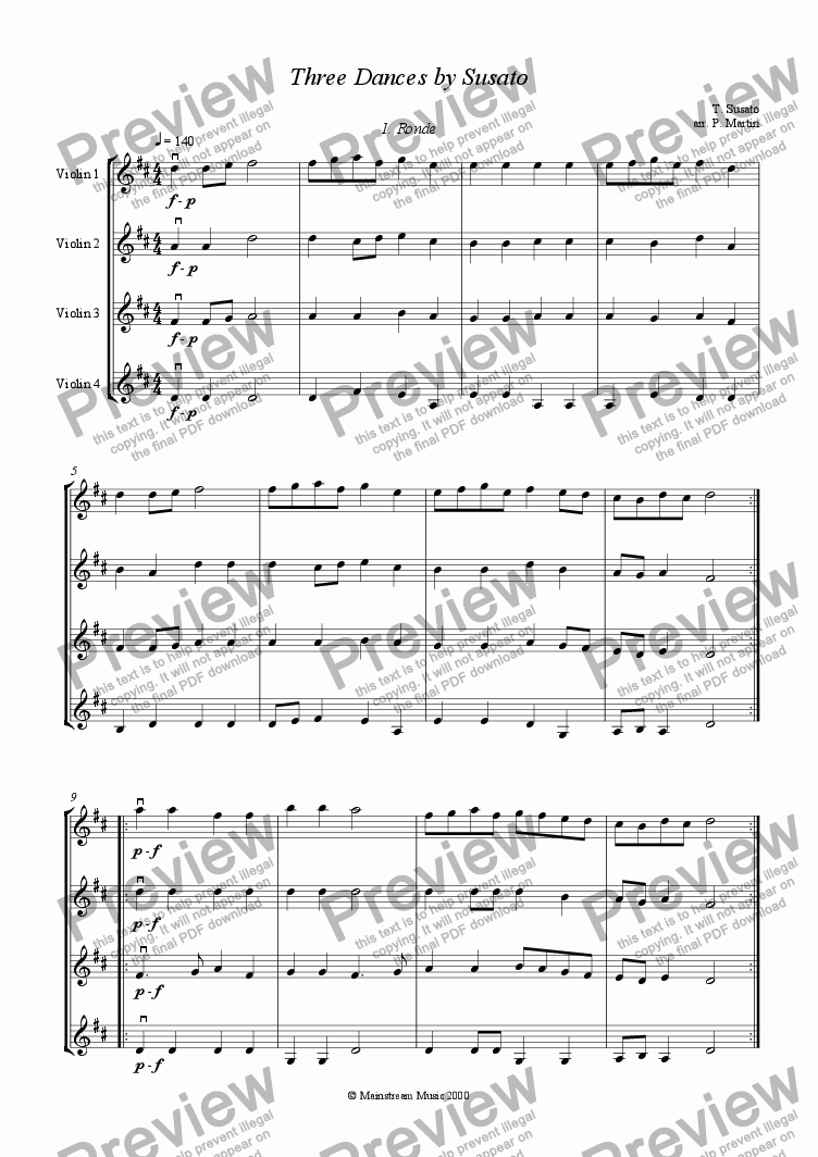 page one of Three Dances by Susato - Violin QuartetASALTTEXT