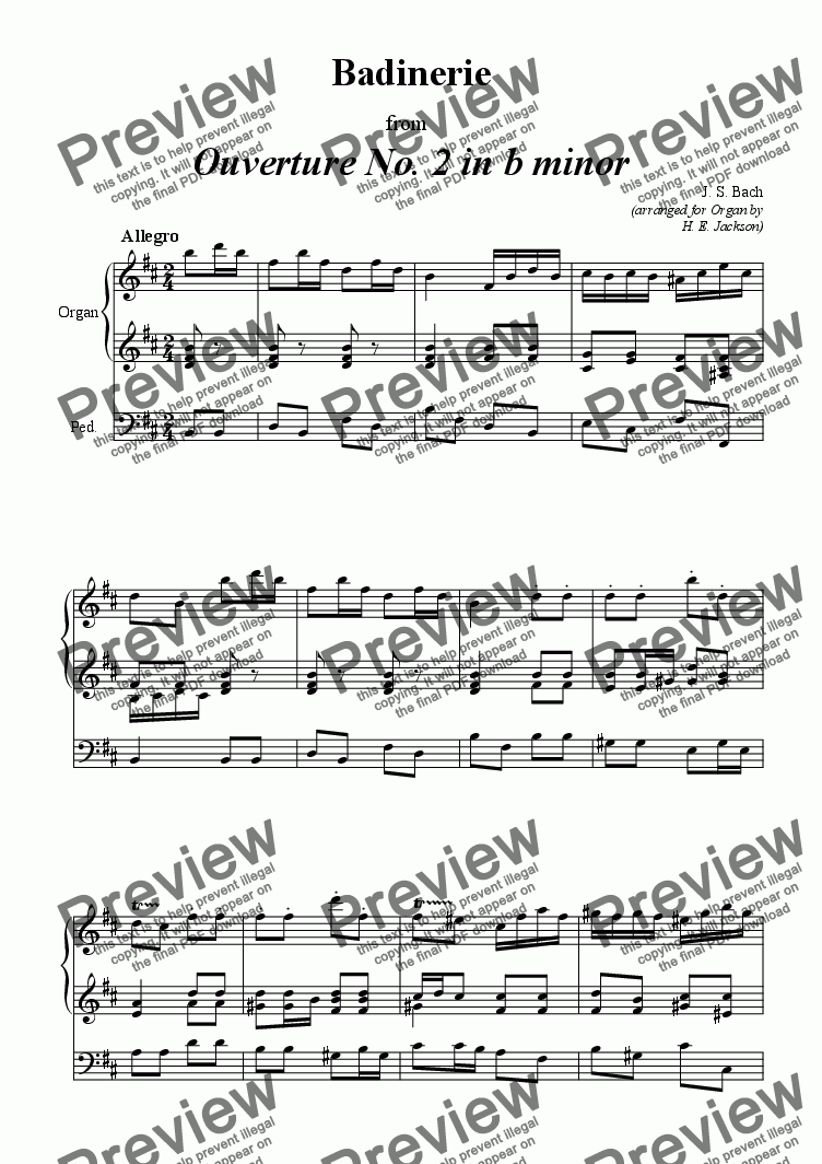 page one of Badinerie from Ouverture No. 2 for Organ