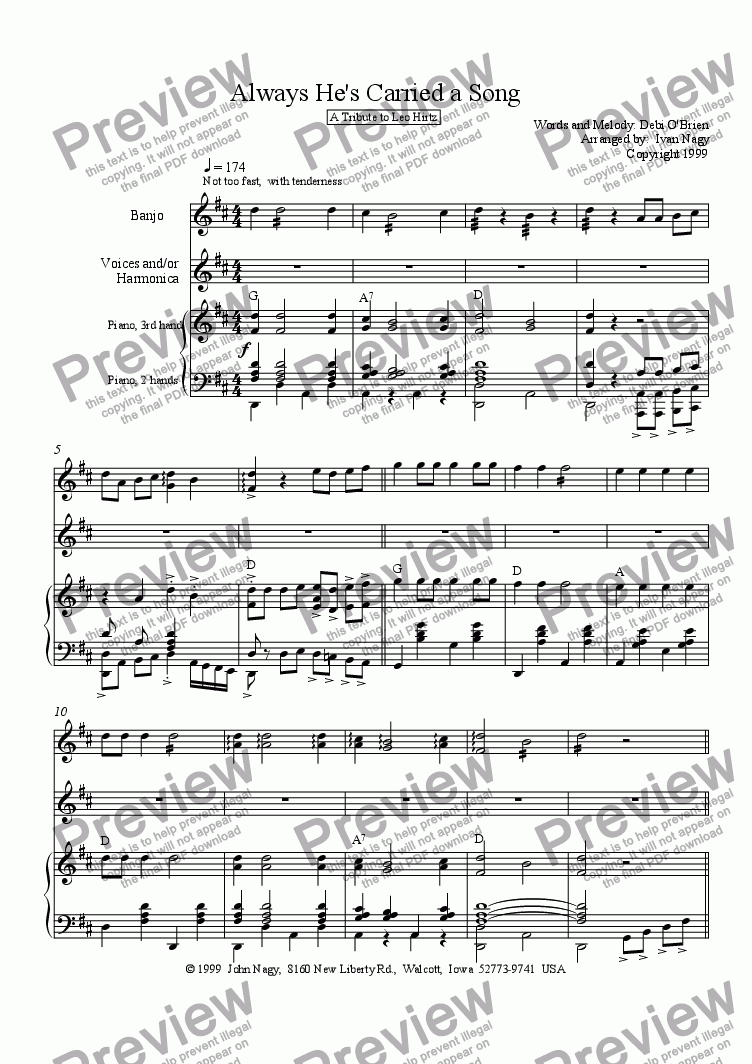 page one of Always He Carried a Song (Banjo, Voices, Piano)