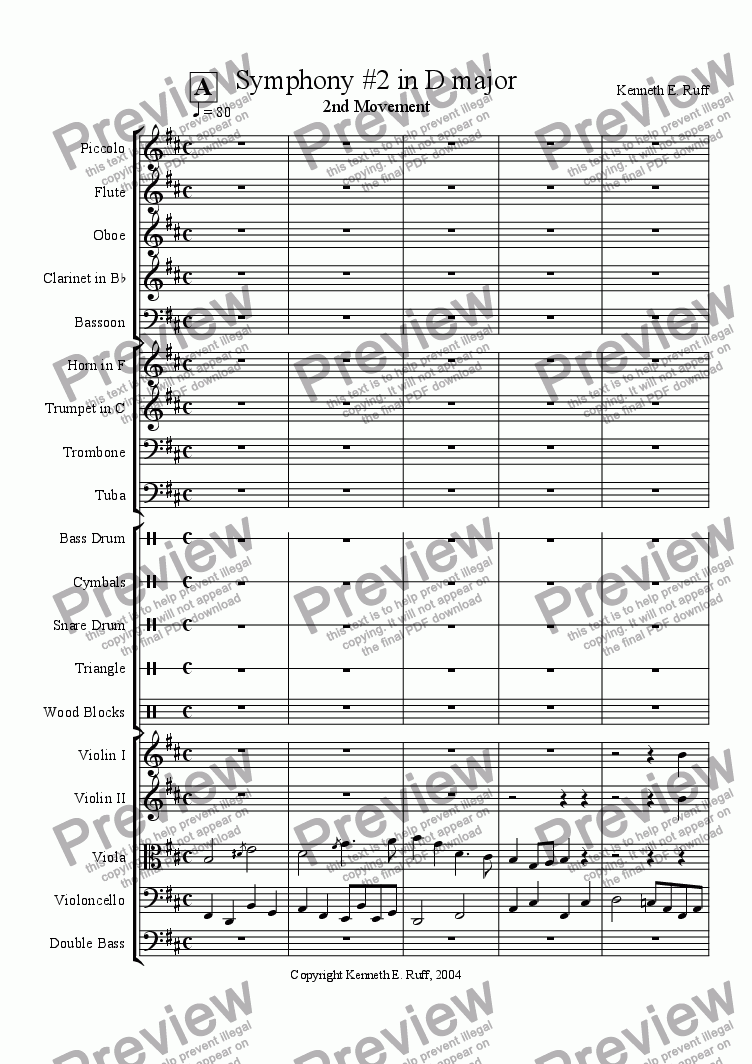 page one of Symphony #2 in D major - 2nd Movement