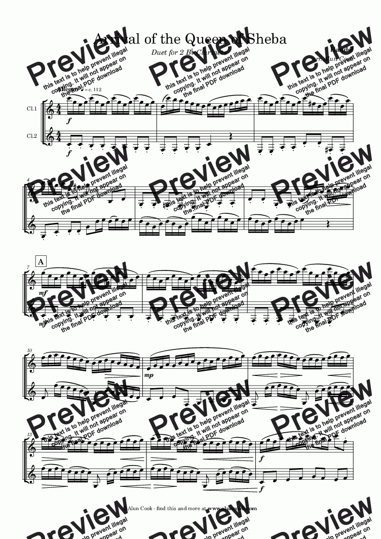 page one of Arrival of the Queen of Sheba (Clarinet Duet)
