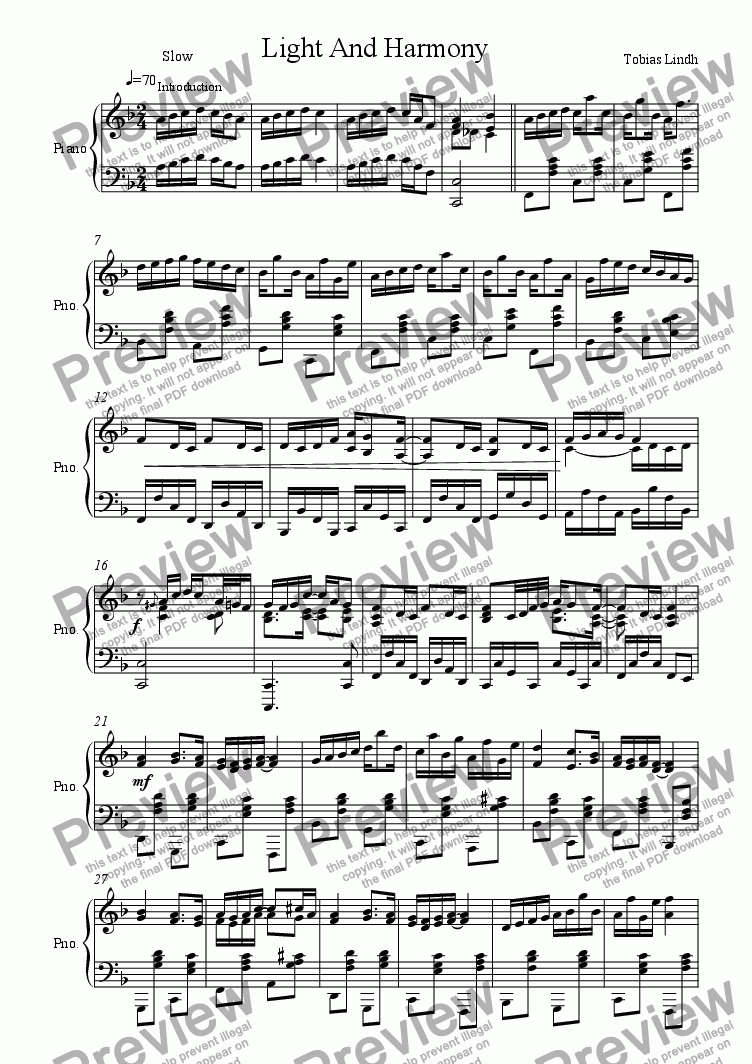 page one of Light And Harmony