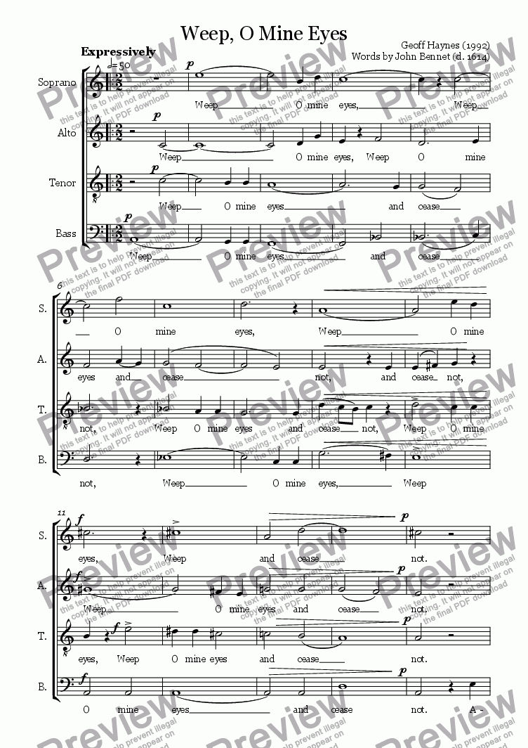 page one of Weep, O Mine Eyes (Madrigal for SATB)