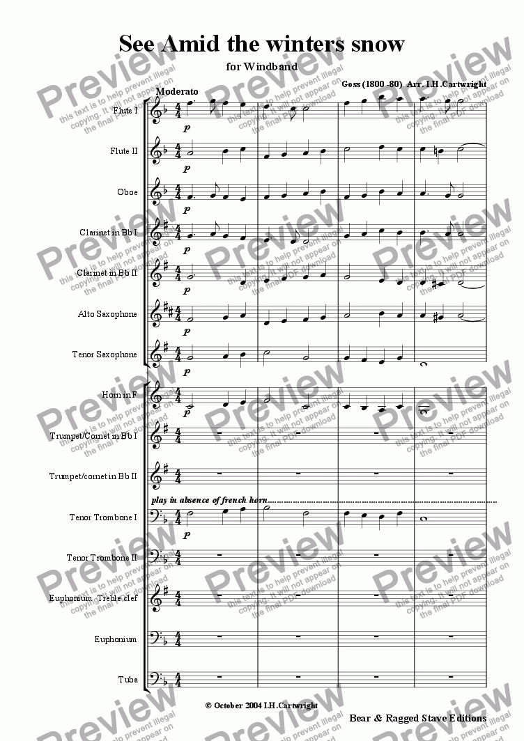 page one of See Amid the winters snow for wind band