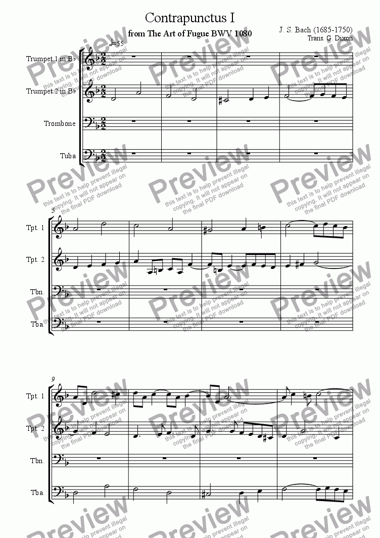page one of Contrapunctus 1 from The Art of Fugue
