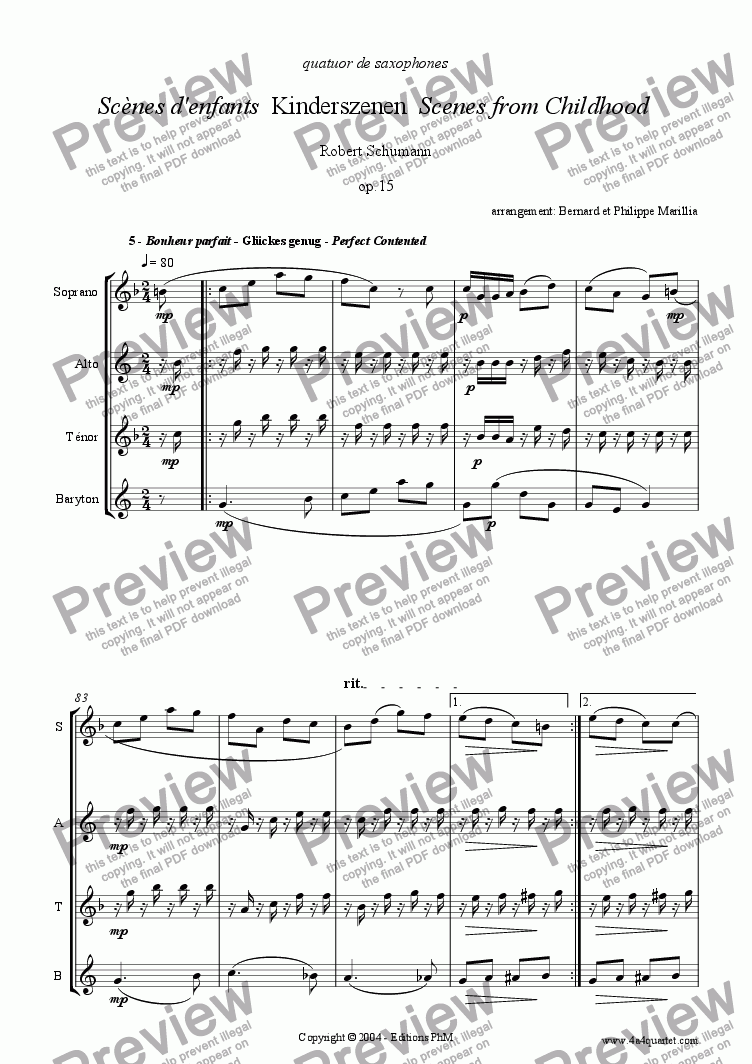 page one of Schumann - Kinderszenen #5 (Sax Quartet)