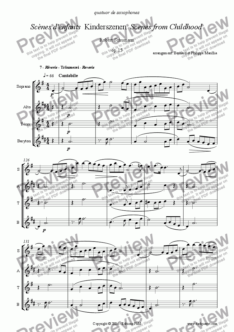 page one of Schumann - Kinderszenen #7 (Sax Quartet)