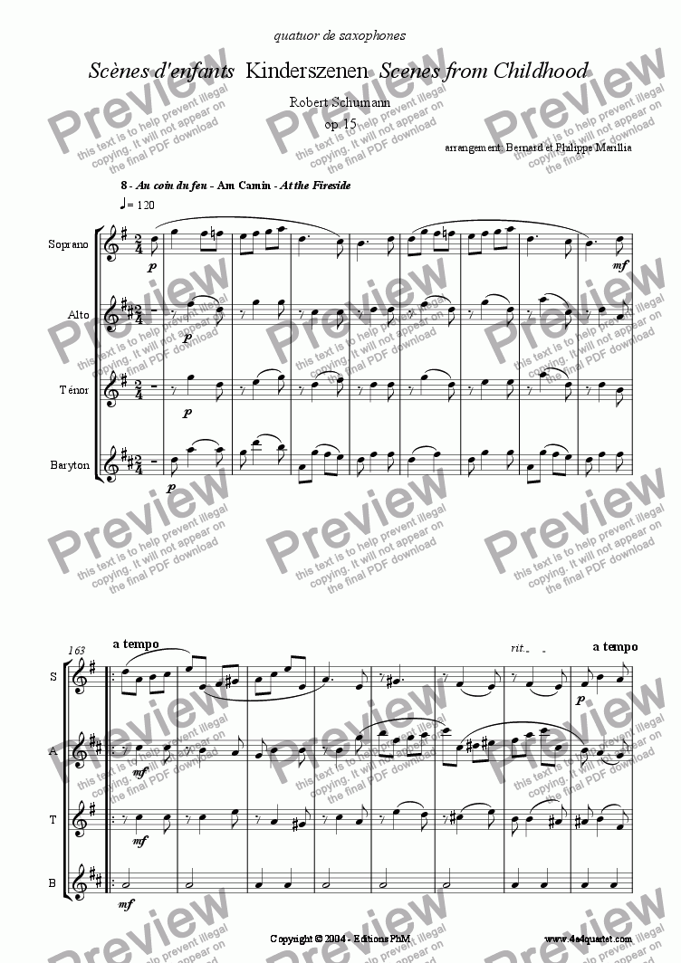 page one of Schumann - Kinderszenen #8 (Sax Quartet)