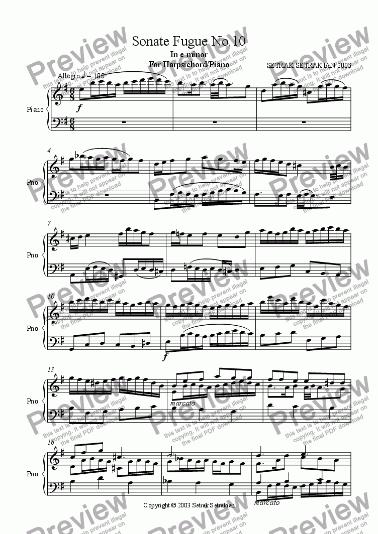 page one of Sonate Fugue No.10 in e minor for Harpsichord/Piano