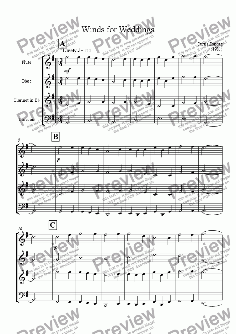 page one of Winds for Weddings