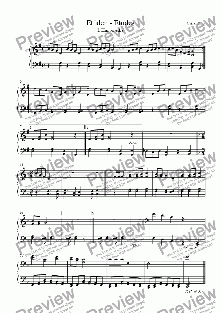 page one of Early Etudes