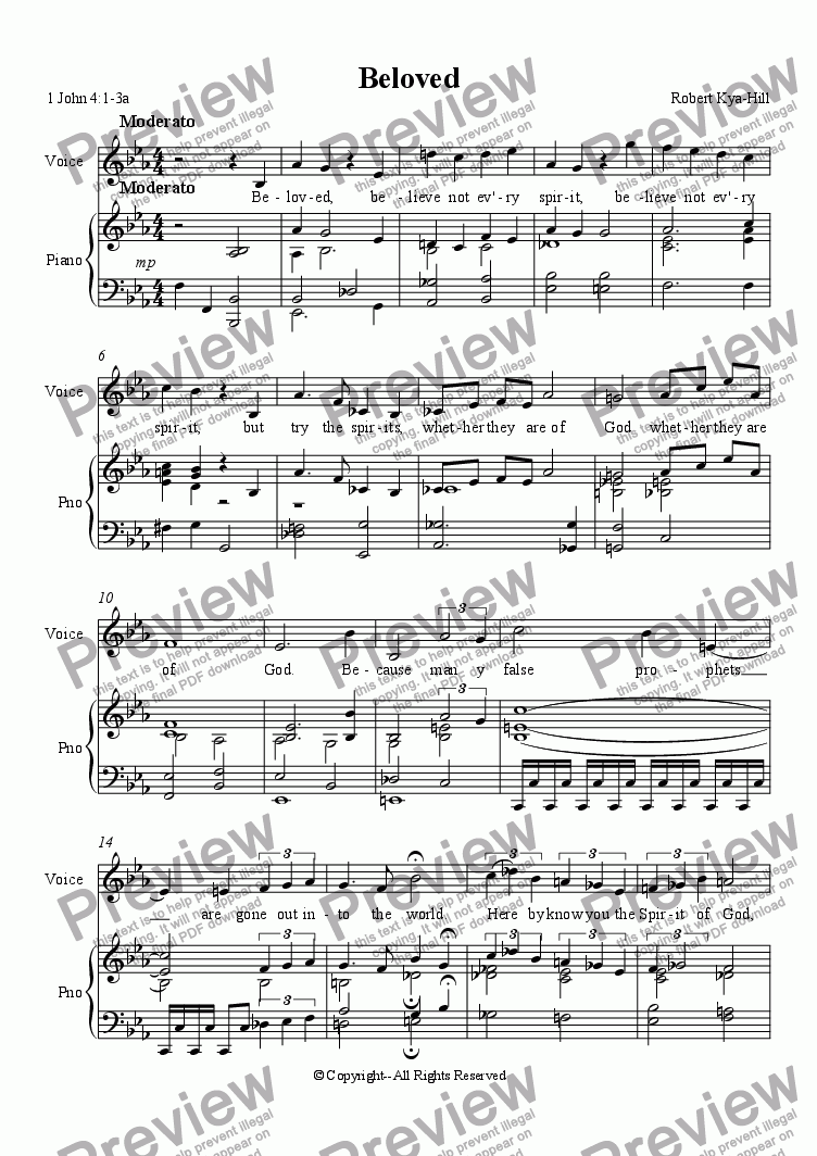 page one of Beloved [Piano and Voice]