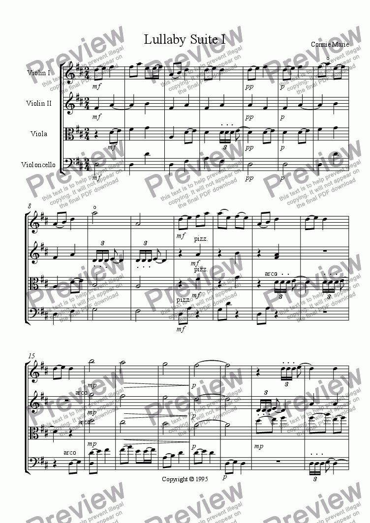 page one of Lullaby Suite I