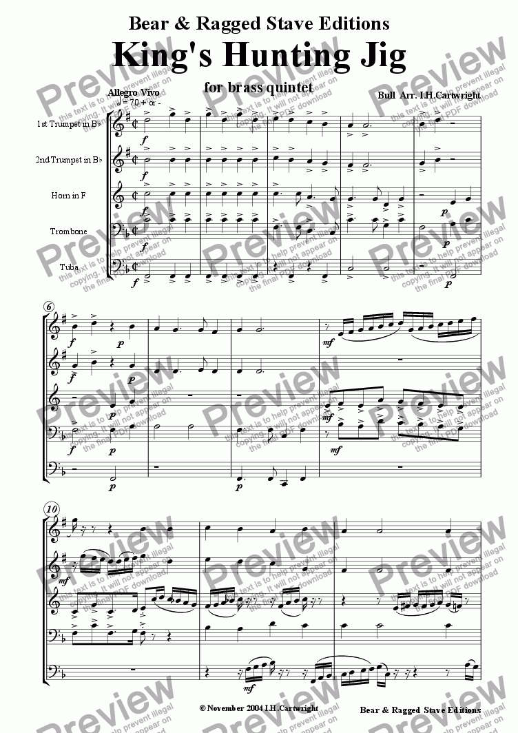 page one of Kings Hunting Jig for brass quintet