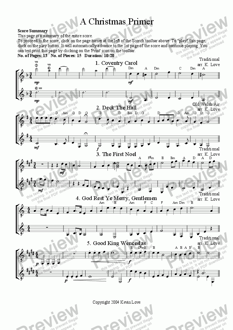 page one of A Christmas Primer  (Duo)