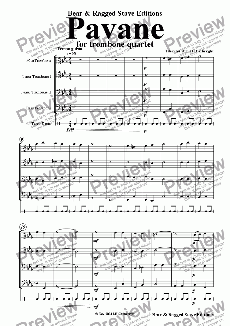 page one of Pavane for trombone quartet