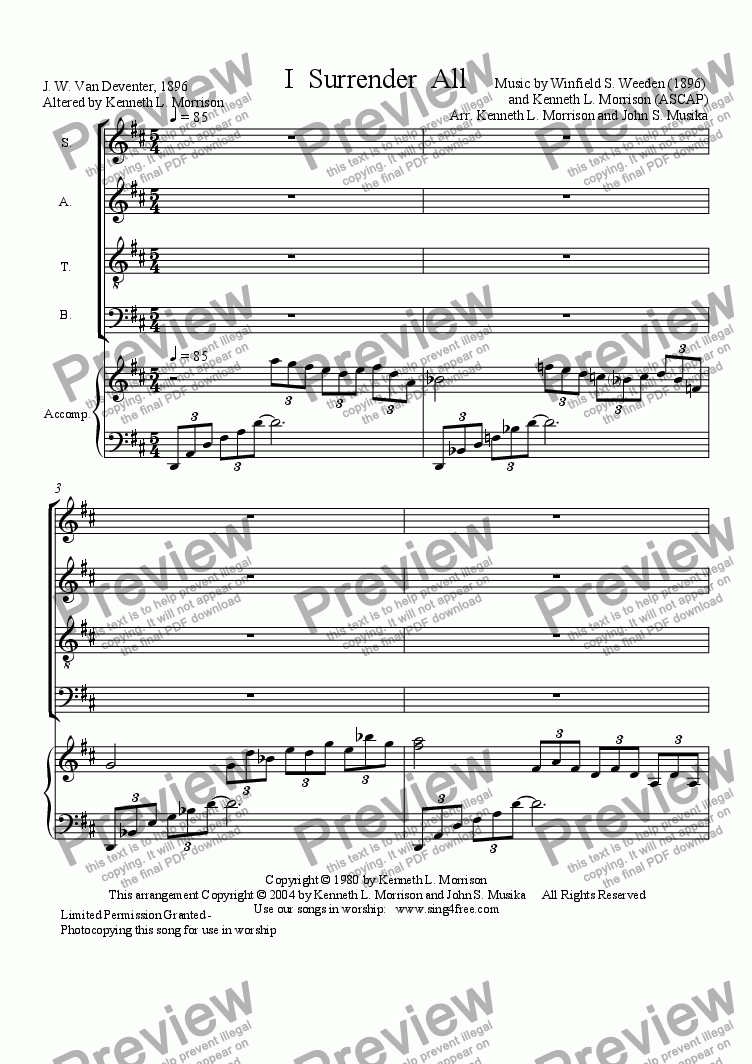 page one of I Surrender All - CV4