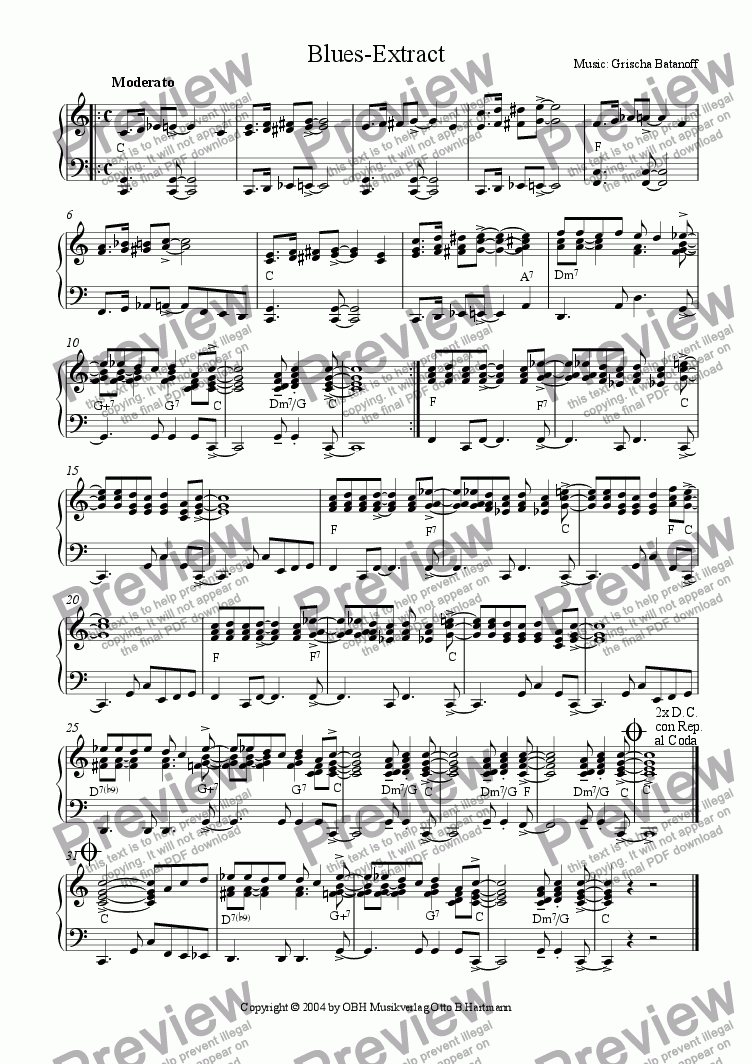 page one of Blues - Extract