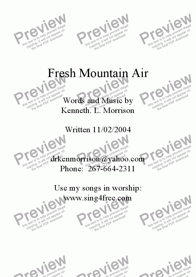 page one of Fresh Mountain Air - CV4