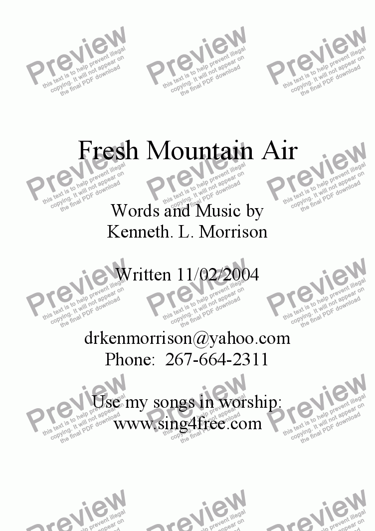 page one of Fresh Mountain Air - PB1