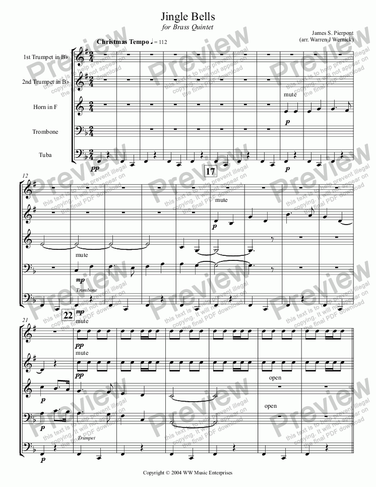 page one of Jingle Bells for Brass Quintet