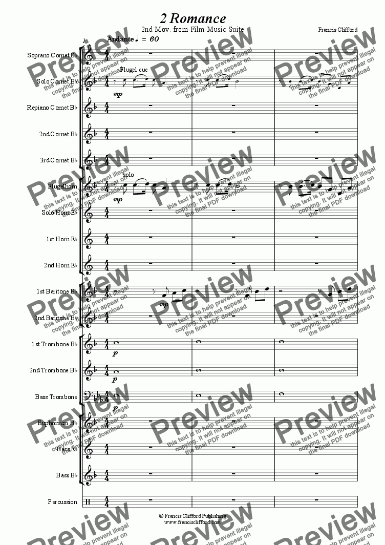 page one of Romance (2nd Mov. of Film Music Suite - Brass Band)