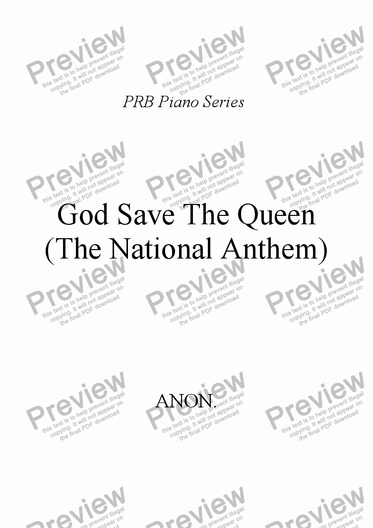 page one of PRB Piano Series: National Anthem (England)