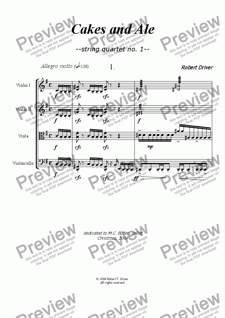 page one of Cakes and Ale:  String Quartet #1