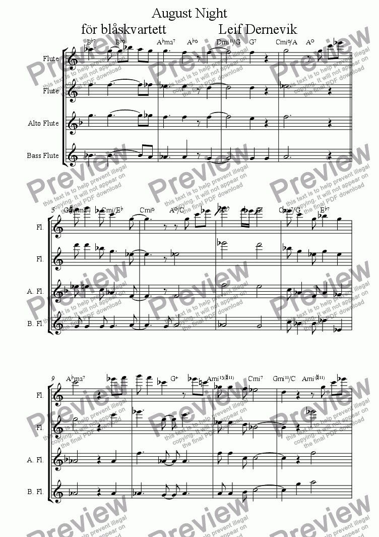 page one of August Night for Flute Quartet
